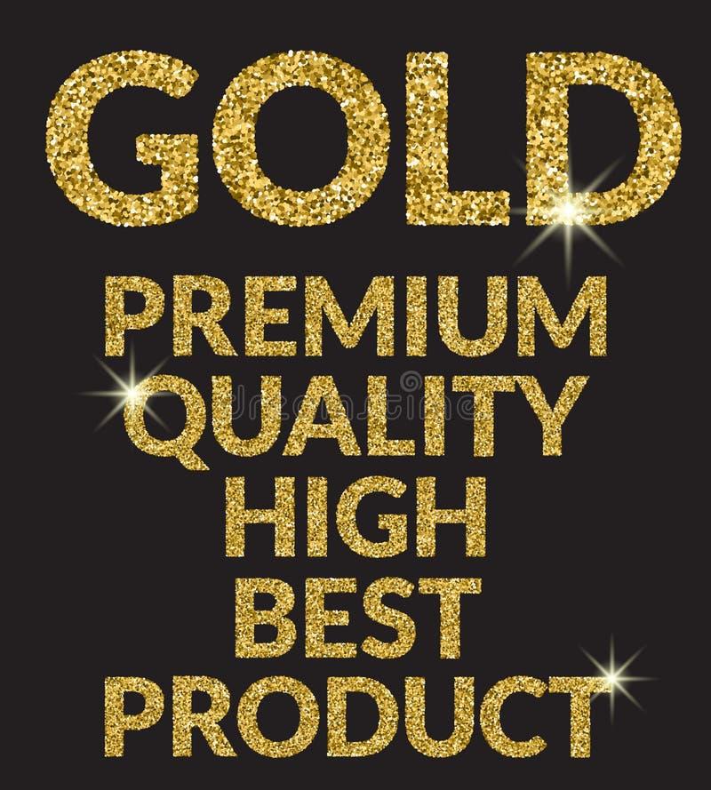 Letras superiores das palavras do ouro para o produto Ouro, superior o melhor produto alto gplden sinais das palavras Projeto lux ilustração royalty free