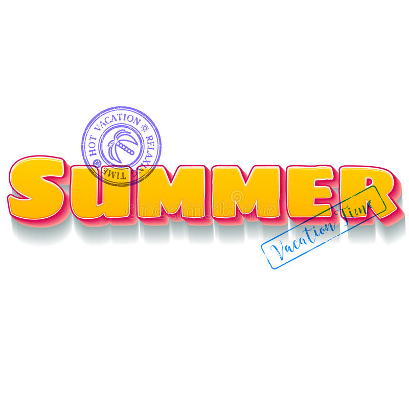 Letras temáticas de las vacaciones de verano con los sellos azules del viaje ilustración del vector
