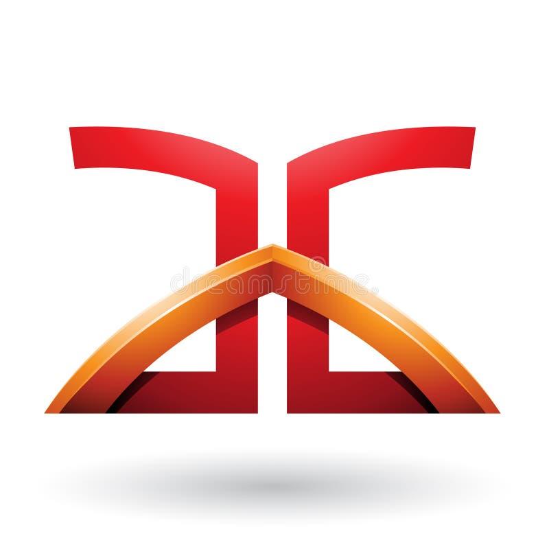 Letras tendidas un puente sobre rojas y anaranjadas de A y de G aisladas en un fondo blanco stock de ilustración