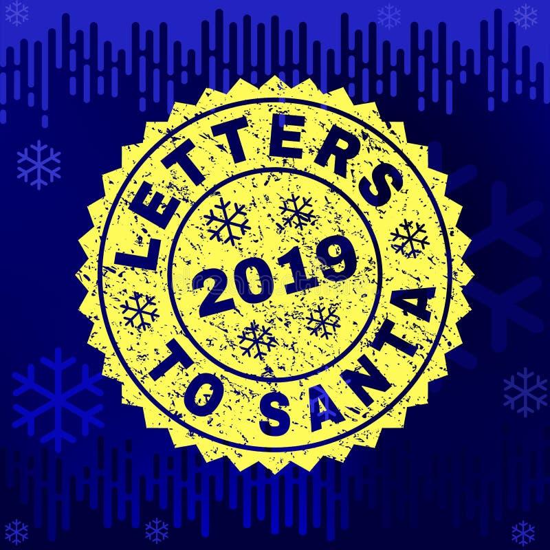 LETRAS Textured a SANTA Stamp Seal no fundo do inverno ilustração do vetor