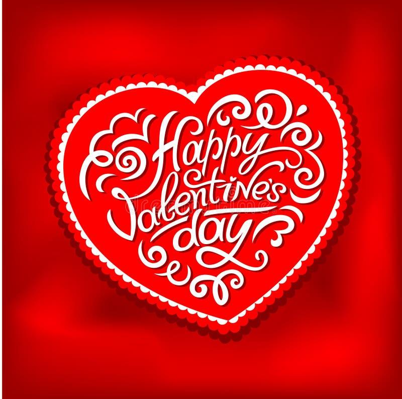 Letras tipográficas felices de día de San Valentín en fondo rosado con el ejemplo blanco del vector del corazón ilustración del vector