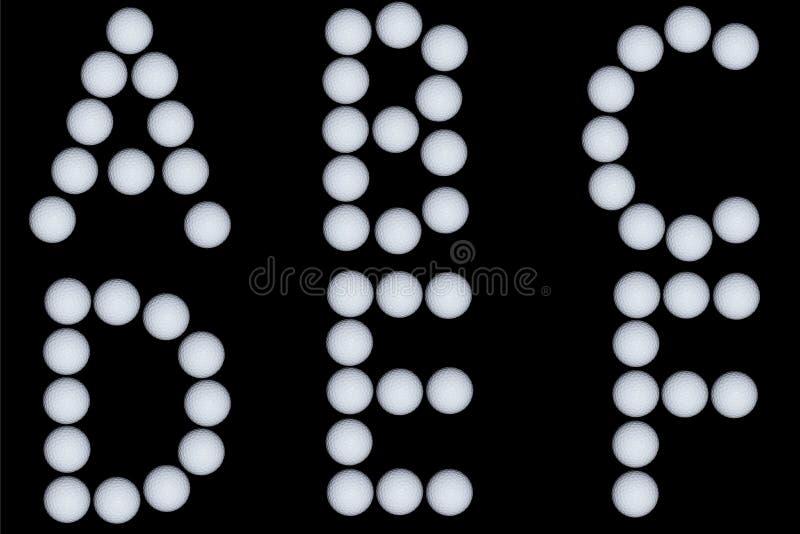 Letras tiradas com bolas de golfe fotografia de stock royalty free