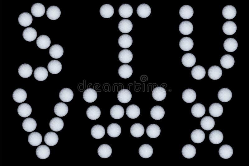 Letras tiradas com bolas de golfe foto de stock royalty free