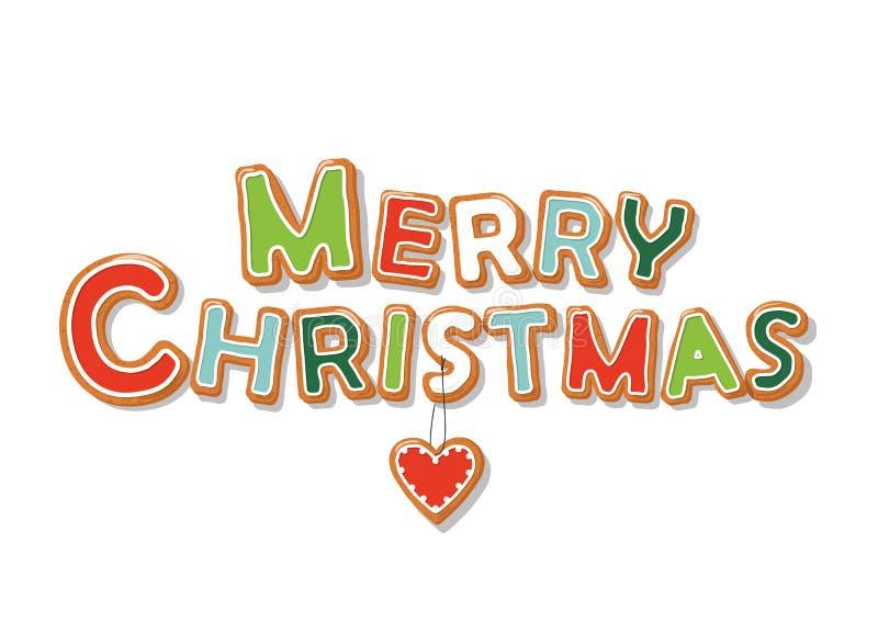 Letras tiradas mão da cookie do pão-de-espécie do Feliz Natal ilustração royalty free