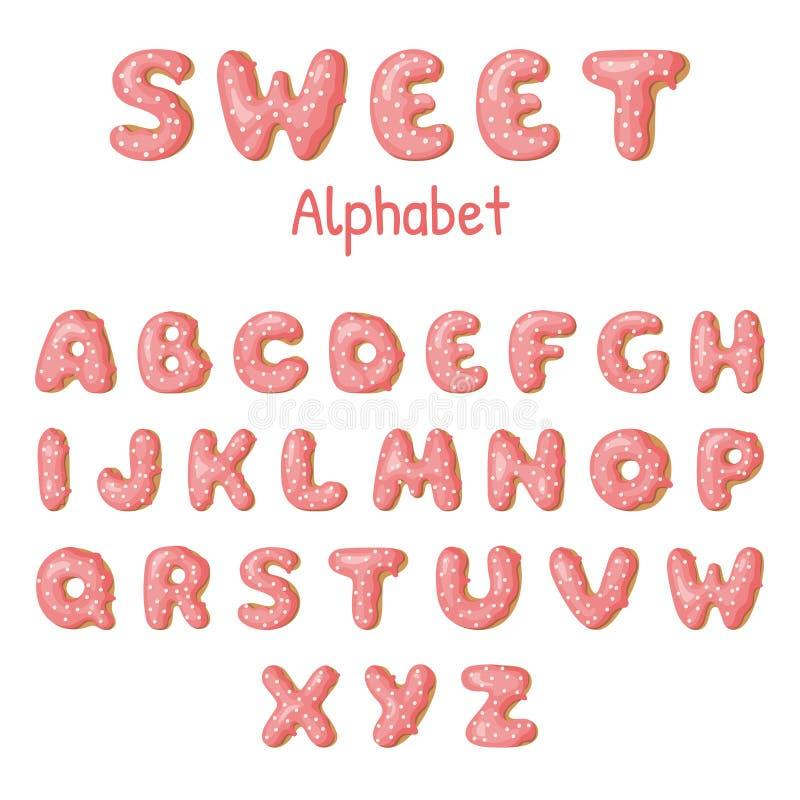 Letras tiradas mão da filhós Anéis de espuma cor-de-rosa ABC ilustração stock
