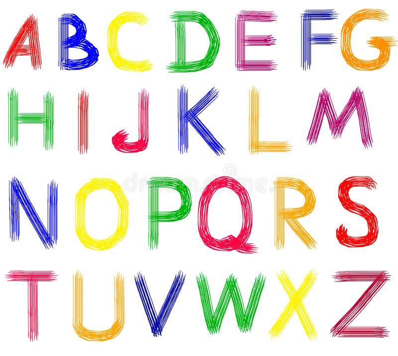 Letras tiradas mão do ABC. ilustração stock