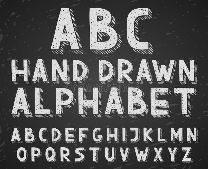 Letras tiradas mão do alfabeto do esboço da garatuja do vetor ilustração stock