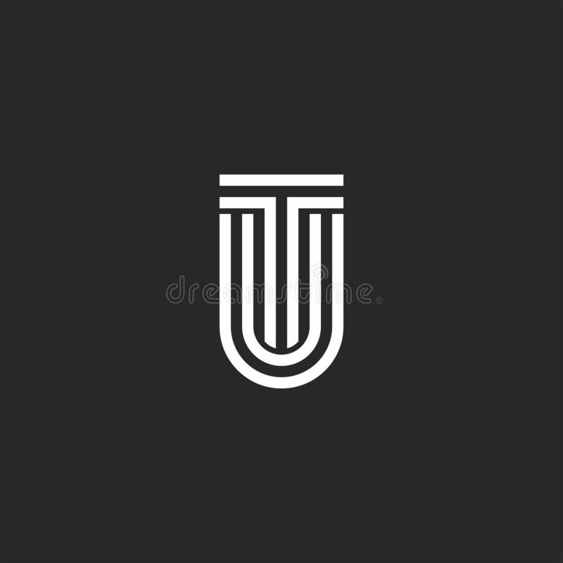Letras a Turquia do logotipo ou de iniciais de UT monograma, duas letras T e U junto, elemento criativo do projeto da tipografia ilustração do vetor