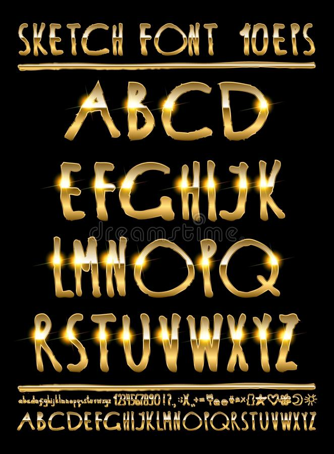 Letras volumétricos do ouro da ilustração do vetor ilustração royalty free