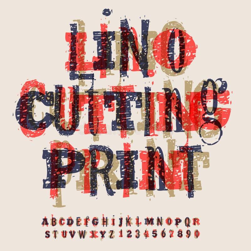 Letras y números, alfabeto artístico de Linocut ilustración del vector