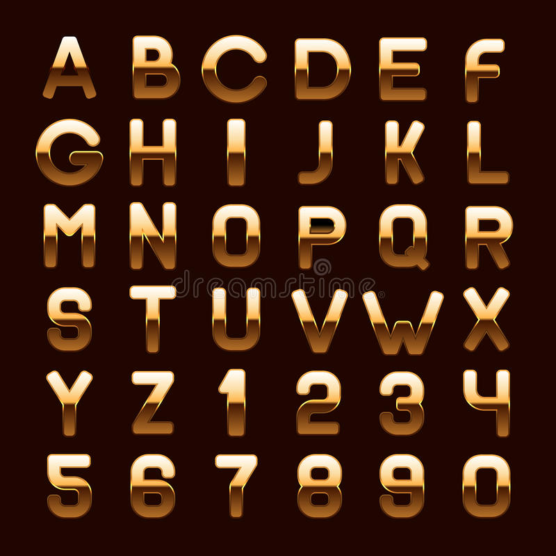 Letras y números brillantes metálicos de oro de ABC stock de ilustración
