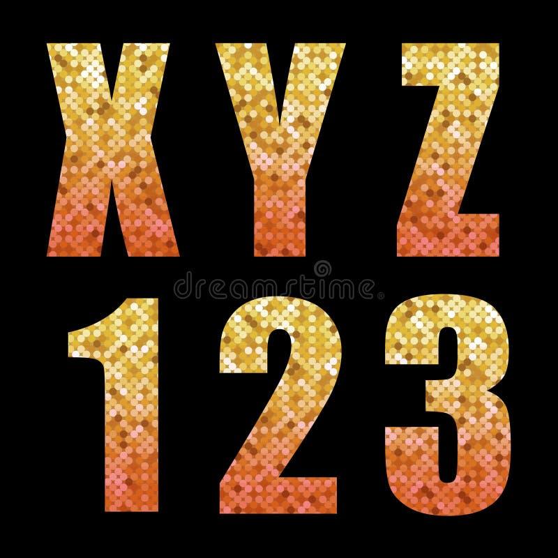 Letras y números de moda hermosos del alfabeto del brillo con oro al ombre rojo ilustración del vector
