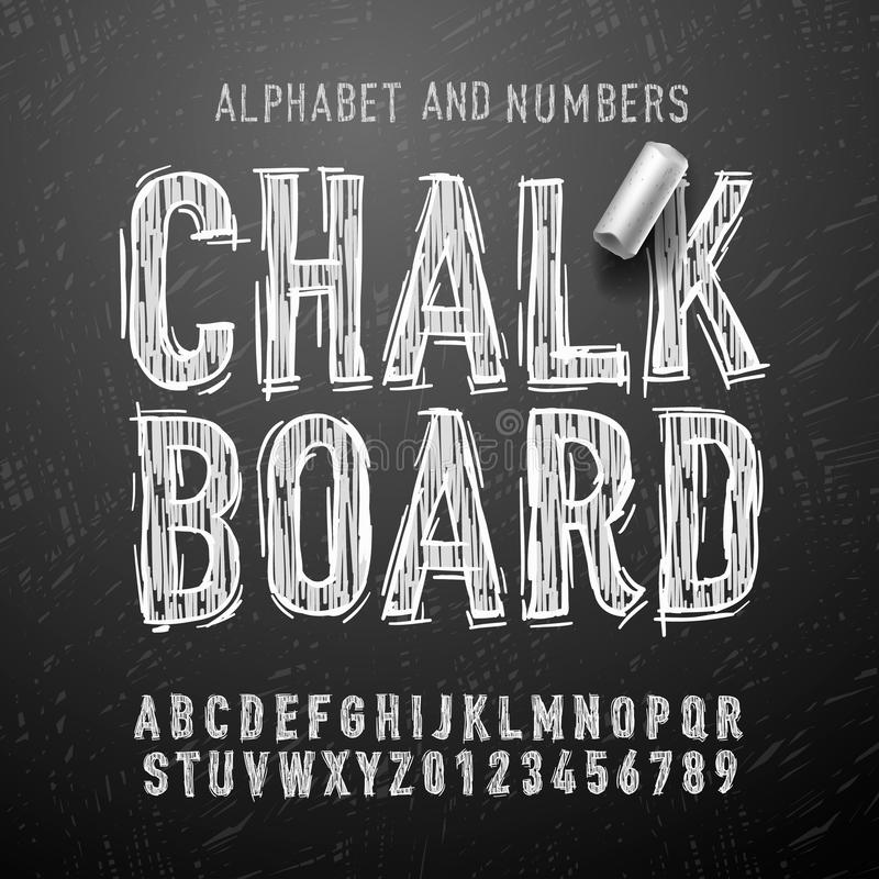 Letras y números del alfabeto de la tiza stock de ilustración