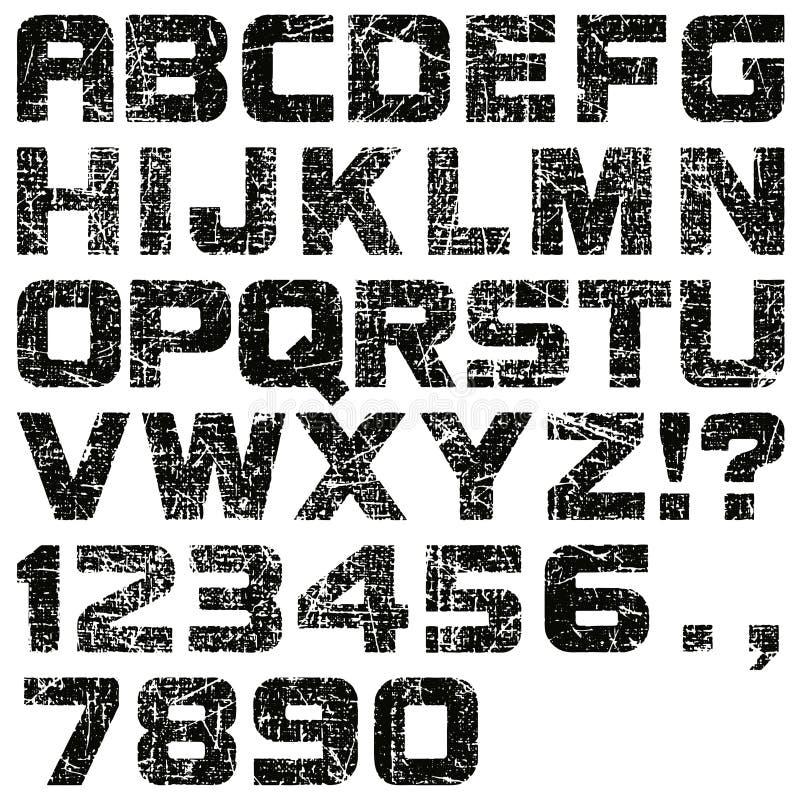 Letras y números del Grunge ilustración del vector