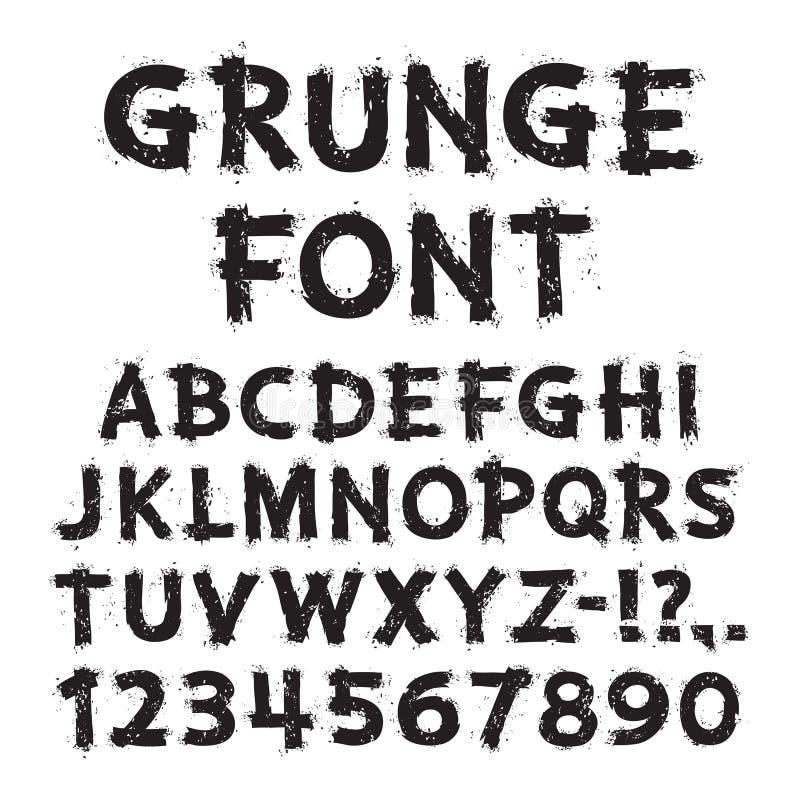 Letras y números del Grunge en el fondo blanco stock de ilustración