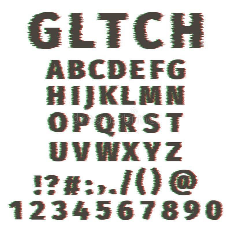 Letras y números torcidos alfabeto de la fuente de la interferencia El vector fijó con el efecto quebrado del pixel, viejo efecto stock de ilustración