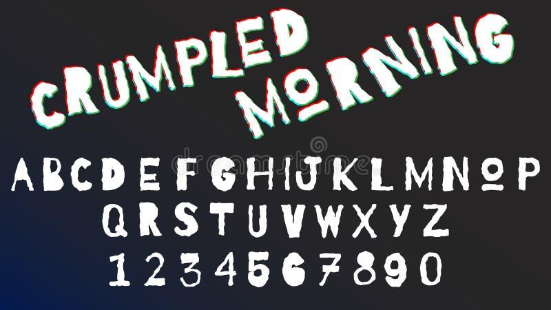 Letras y sistema arrugados curvados de la fuente de los números Alfabeto monocromático, concepto de diseño moderno de la tipograf ilustración del vector