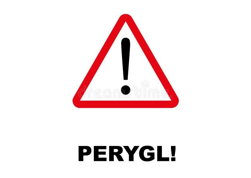 Letreiro do perigo escrito na língua de Galês ilustração stock