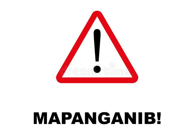 Letreiro do perigo escrito na língua filipino ilustração stock