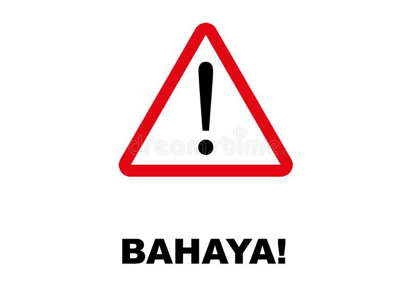 Letreiro do perigo escrito na língua malaia ilustração stock