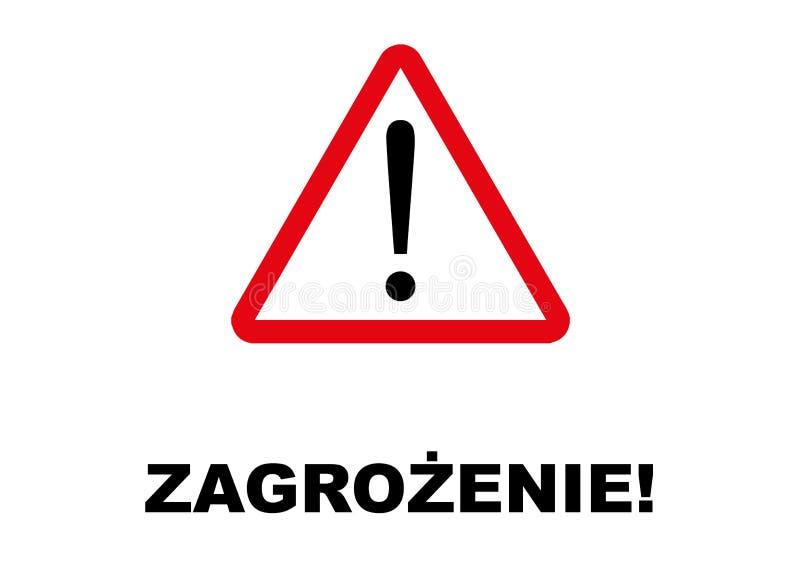 Letreiro do perigo escrito na língua polonesa ilustração royalty free