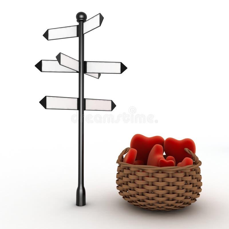 Letreiro e cesta completamente dos corações Conceito do curso para amantes ilustração stock
