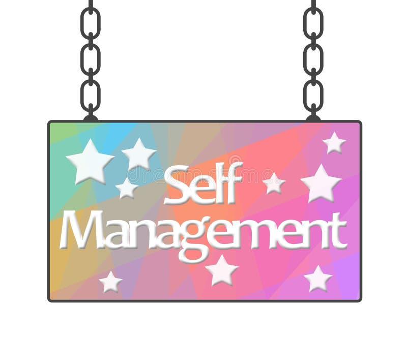 Letrero colorido de la gestión del uno mismo libre illustration