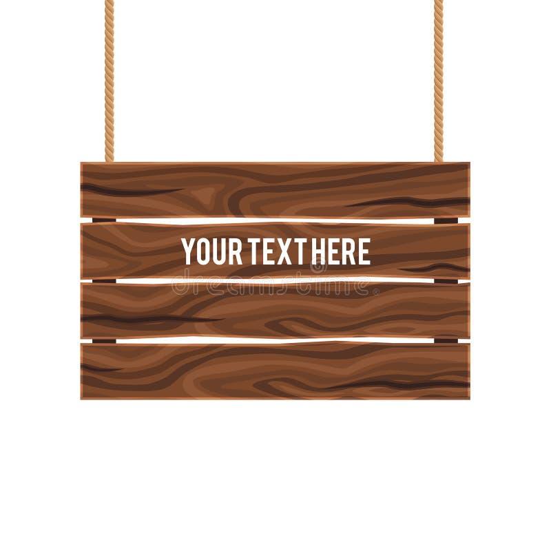 Letrero compuesto de madera vacío separado ilustración del vector