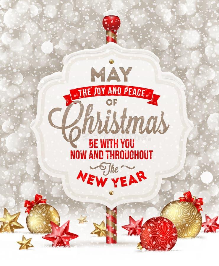 Letrero con el saludo de la Navidad libre illustration