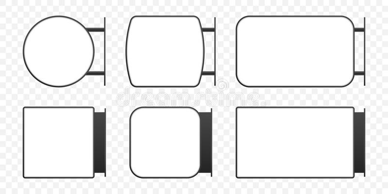 Letrero de la caja de luz de la señalización Sistema vertical de la maqueta de la caja de la muestra del lightbox del rectángulo  ilustración del vector