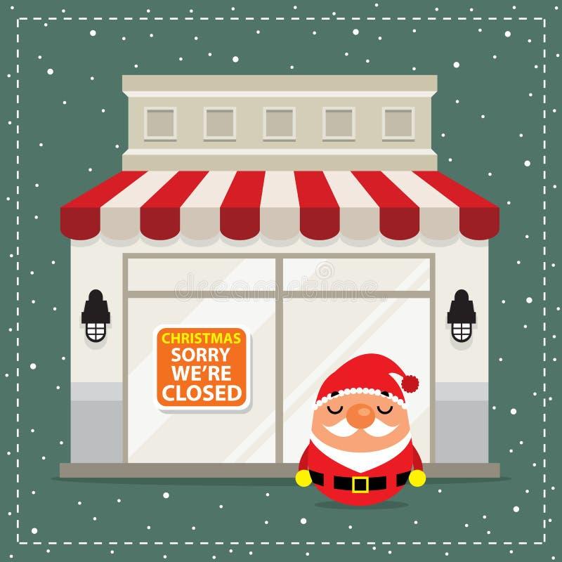 Letrero de la Navidad cerrado stock de ilustración