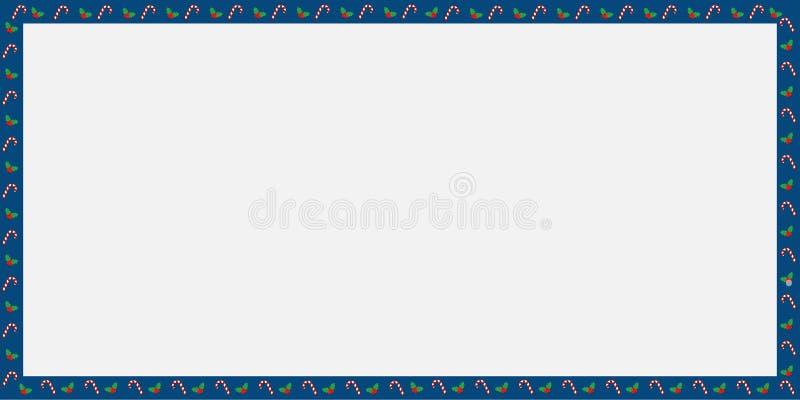 Letrero de la Navidad linda o del Año Nuevo con el bastón de caramelo, modelo de las bayas aislado stock de ilustración