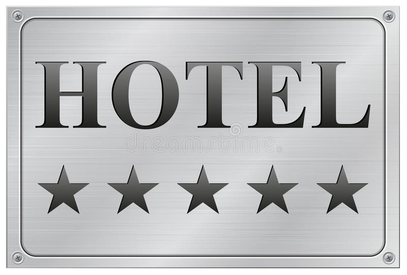 Letrero de las estrellas del hotel cinco stock de ilustración