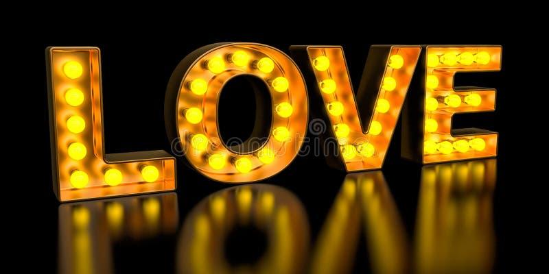 Letrero de letras de oro de la bombilla, fuente que brilla intensamente retra del amor representaci?n 3d ilustración del vector