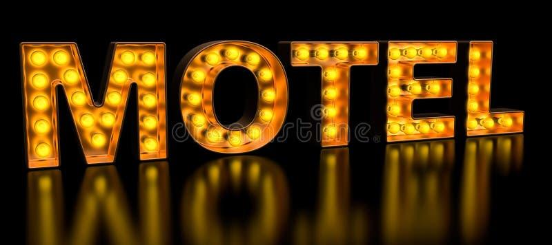 Letrero de letras de oro de la bombilla, fuente que brilla intensamente retra del motel representaci?n 3d libre illustration
