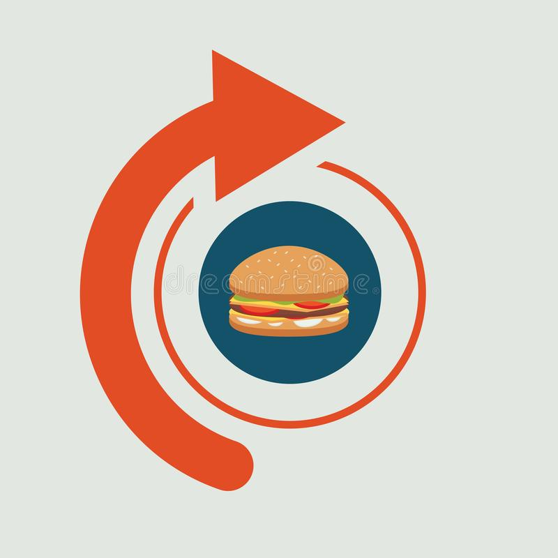 Letrero de los alimentos de preparación rápida con la flecha libre illustration