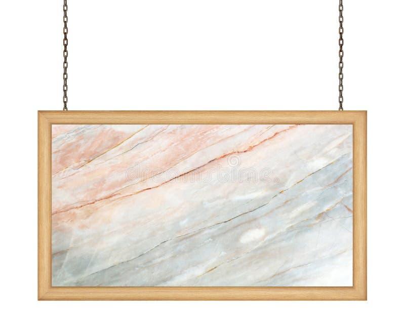 Letrero de mármol que cuelga una cadena en el fondo blanco foto de archivo libre de regalías