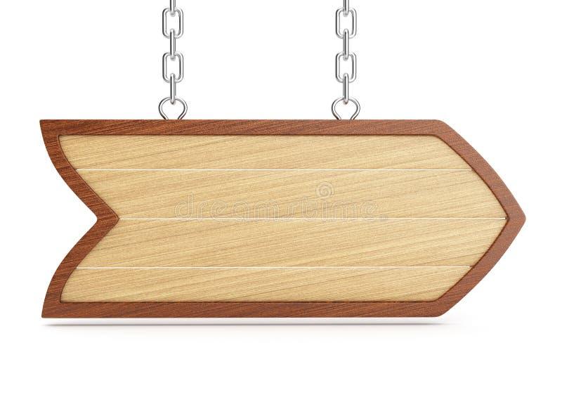 Letrero de madera stock de ilustración