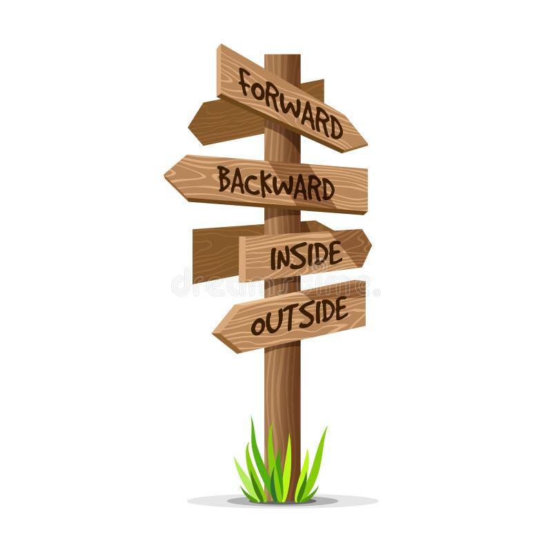 Letrero de madera de la dirección del vector de la flecha stock de ilustración