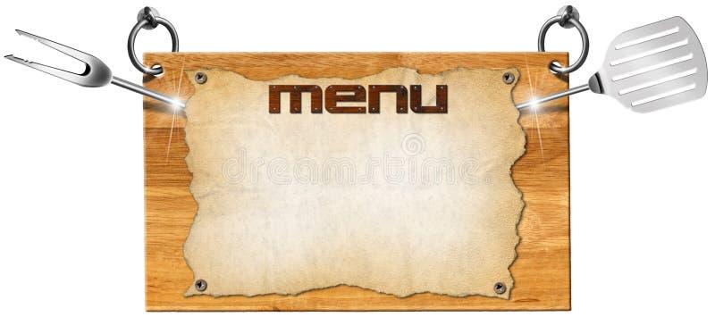 Letrero de madera del menú libre illustration