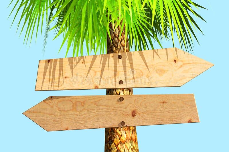 Letrero de madera en una palmera ilustración del vector