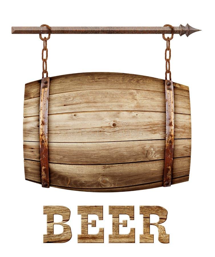 Letrero de madera formado barril foto de archivo