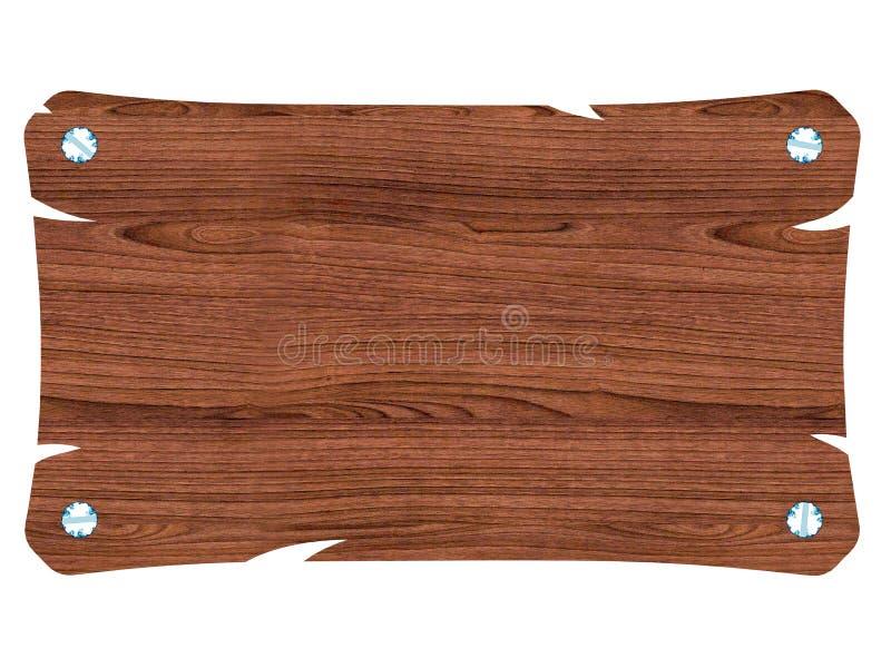 Letrero de madera marr n en blanco con el tornillo stock - Letreros en madera ...
