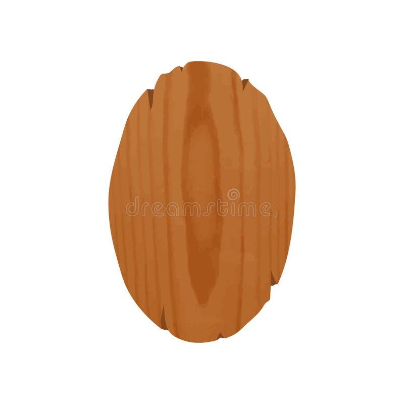 Letrero de madera oval Handcrafted con el lugar para la promoción o el anuncio Tablero elipse-formado envejecido aislado en blanc stock de ilustración
