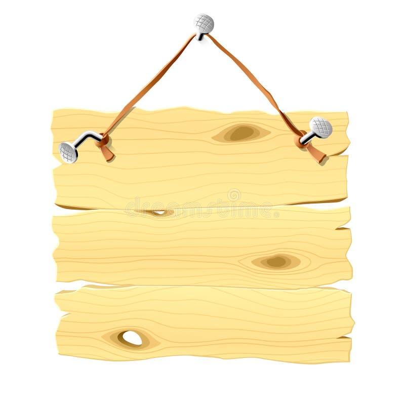 Letrero de madera que cuelga en un clavo. Vector. libre illustration