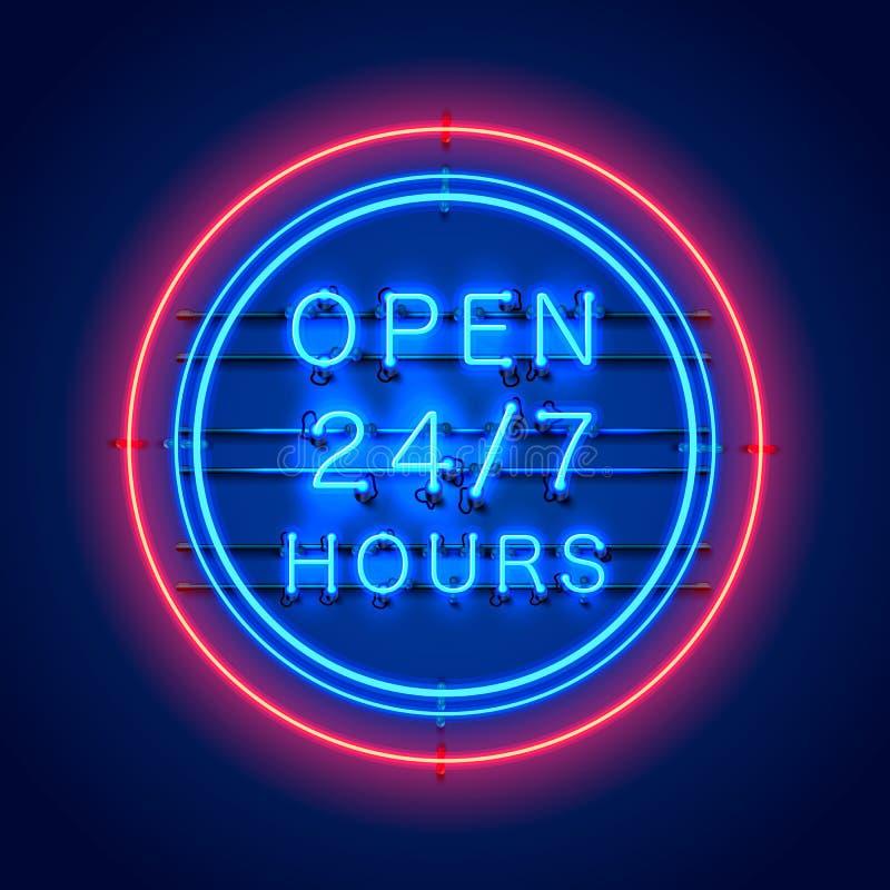Letrero de neón 24 7 horas abiertas ilustración del vector