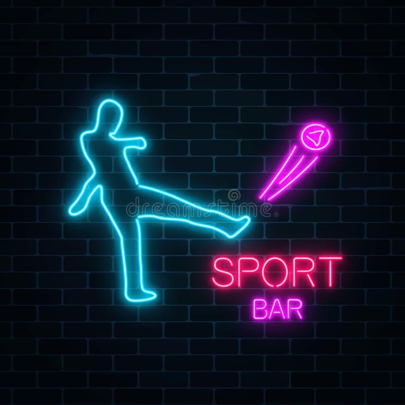 Letrero de neón que brilla intensamente de la barra de deporte en una señal de neón oscura del fútbol del fondo de la pared de la ilustración del vector