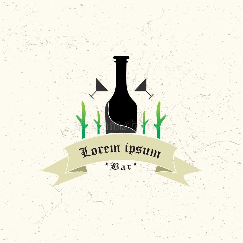 Letrero de ne?n del pub de la cerveza que brilla intensamente en marcos del c?rculo en fondo oscuro de la pared de ladrillo Muest ilustración del vector