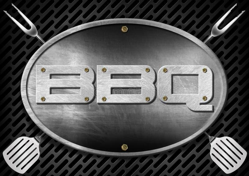 Letrero del Bbq con los utensilios de la cocina stock de ilustración