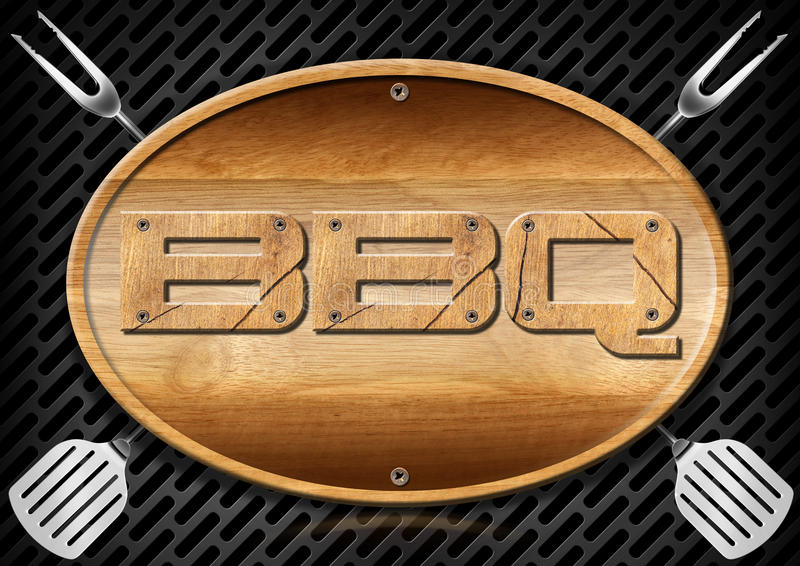 Letrero del Bbq con los utensilios de la cocina libre illustration